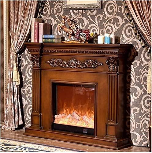 Foyer à gaz Cheminées Cheminée électrique Simulation Décoration de flamme Manteau de cheminée Chauffage électrique Noyau de cheminée Sculpté Armoire décorative (Couleur : Marron,Taille : Noyau de po