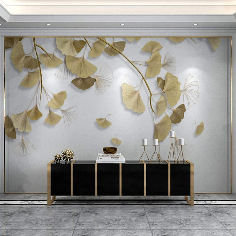 Msrahves Children's Room Los Angeles Mall Décor Golden embossed leaves ginkgo OFFicial site 250