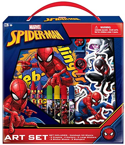 Marvel Avengers Spiderman Kids Coloring Art Set with Stickers and Stampers