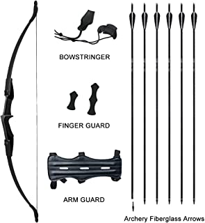 Tongtu Multicolor Recurve Bow Arrow Set,Straight Bow for Teens or Beginner, Takedown Bow Archery Hunting, Left or Right Hand 30LB 40LB Bow Length 53.5