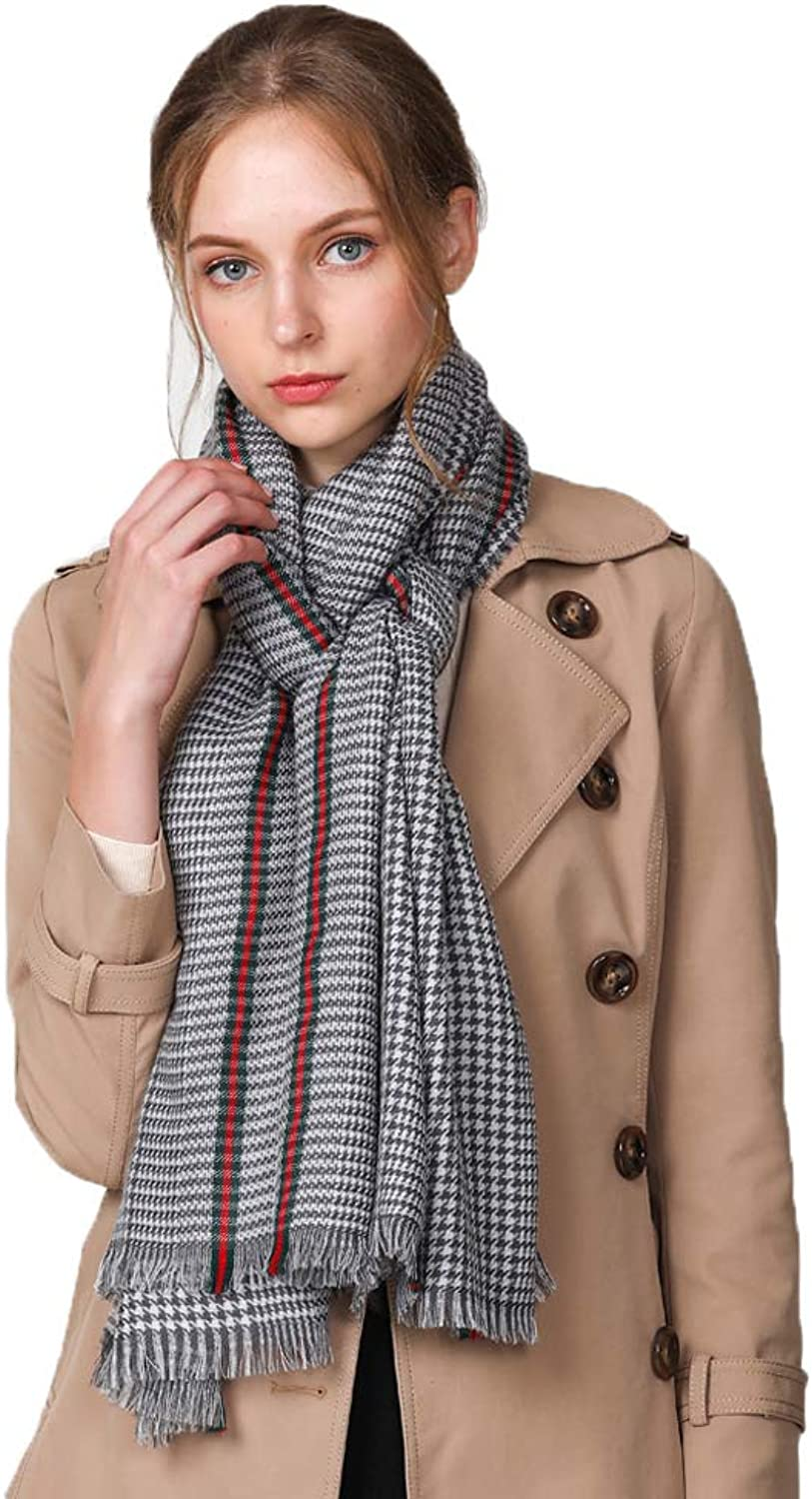 Hong Tai Yang Women's Scarf Plaid Wool Scarf 80 Aussie Hair Autumn and Winter Air Conditioning Room Warm Thick Shawl Dualuse Ladies Bib The Most Beautiful Gift (color   C)