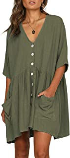 CILKOO Women V Neck Button Down Loose Swing Casual Short T-Shirt Dress with Pockets - Green - X-Large