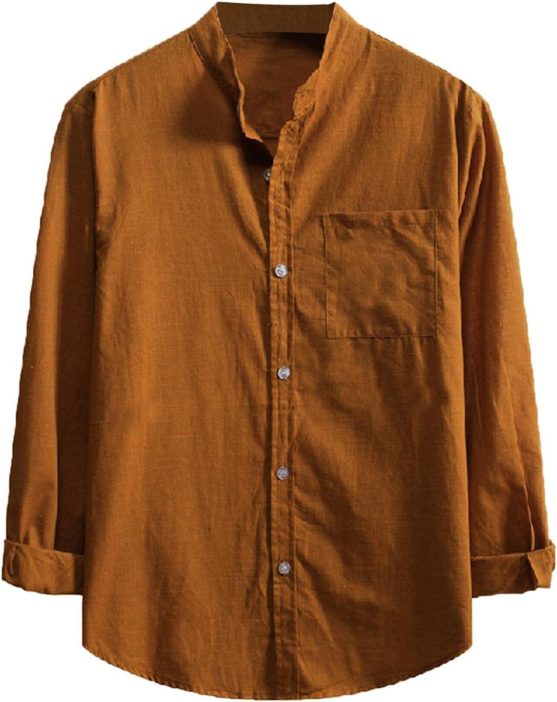 KEEYO Mens Long Sleeve Linen Shirts Casual Hippie Button Up Loose Fit Beach Lightweight Plain Work Designer Shirts Tops