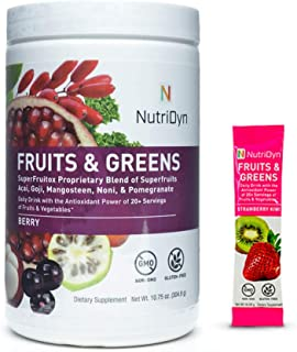 Nutri-Dyn Dynamic Fruits and Greens Powder Berry, Certified Organic Fruits and Vegetables, 50 Superfoods, 10.8 Ounce, Incl...