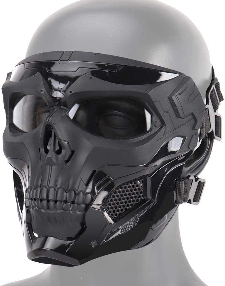 Tawcal Máscara Táctica de Airsoft del Cráneo, Máscara Protectora de la Cara Completa Paintball CS Hockey Halloween Masquerade Cosplay Máscara esquelética de Protección para los Ojos,Negro