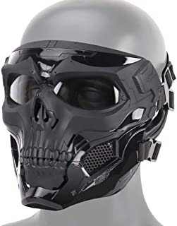 Dumcuw Halloween Skeleton Airsoft Mask, Cool Skull Half Face Camouflage Army Equipment Mask Helmet with Sponge Pad and Headband Rope,Suitable for Game Party Sports Hunting,Cs War Play.
