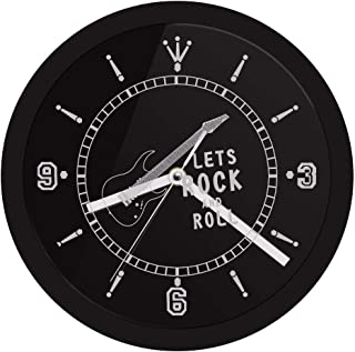 YJSMXYD Wall Clocks Durable Birthday Gift Mute Movement Rocking Guitar Led Lighted Rock N Neon Effect Music Studio Bar Wall Art Living Office Hotel Bar Creative Art