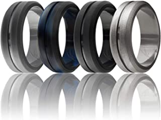 ROQ Silicone Wedding Ring for Men, Elegant, Affordable 8mm Silicone Rubber Wedding Bands, 4 Pack, Brushed Top Beveled Edges - Black, Metal Silver, Dark Gray