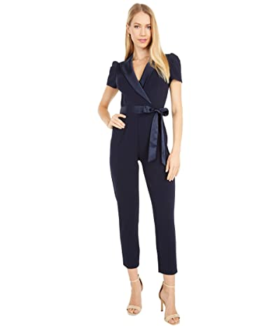 Adrianna Papell Petite Suited Crepe Jumpsuit with Charmeuse Details (Midnight) Women