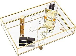 CHICHIC Gold Mirror Tray Jewelry Organizer Vanity Tray Jewelry Tray Perfume Tray Dresser Tray Decorative Tray, Glass Metal Makeup Tray for Bathroom Bedroom Cosmetics Storage, 11.8 x 7.9 Inch