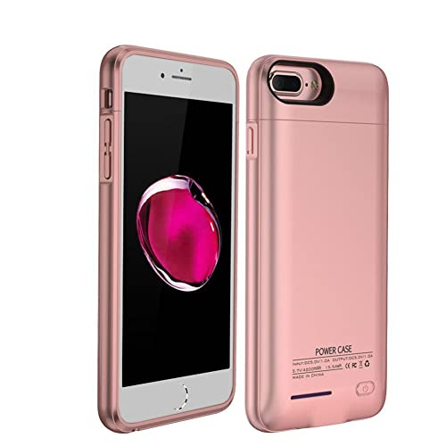 Rose Gold, iPhone 6//6s Plus Ultra Thin Power Bank Battery Charger Backup Case Cover for iPhone 6 6S 7 8 Plus