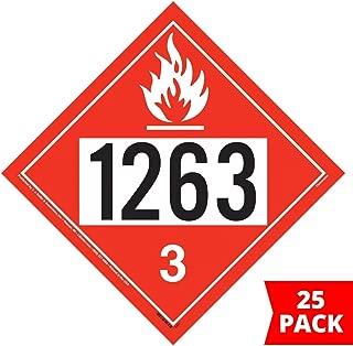 1263 Placard, Class 3 Flammable Liquid 25-pk. - 10.75