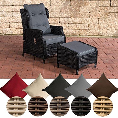 CLP Polyrattan-Sessel Breno Mit Sitzpolster Und Fußhocker I Relaxsessel Mit Verstellbarer Rückenlehne, Farbe:schwarz, Polsterfarbe:Eisengrau