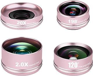AEDWQ Phone Camera Lens, 4 in 1 Lens Set, 4K HD 2X Telephoto Lens, 120 ° Ultra Wide-Angle Lens, 20x Macro Lens, 198 ° Fish...