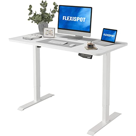 "Flexispot EN1 Electric White Stand Up Desk Workstation with 48 x 30 Inches Whole-Piece Desktop Ergonomic Memory Controller Adjustable Height Standing Desk Primo(White Frame + 48"" White Desktop)"