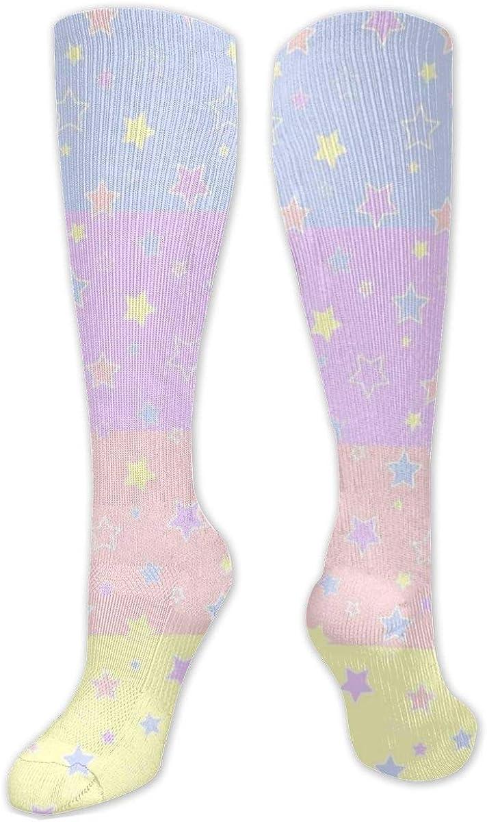 Rainbow Stars Knee High Socks Leg Warmer Dresses Long Boot Stockings For Womens Cosplay Daily Wear