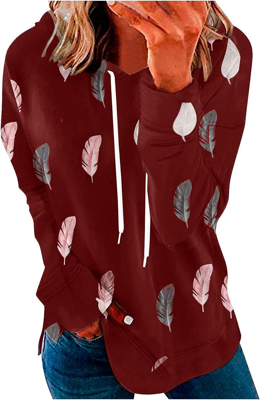 wlczzyn Zipper Sweatshirts for Women, Women's Long Sleeve Hooded Sweatshirts Casual Plus Size Print Jacket Shirts