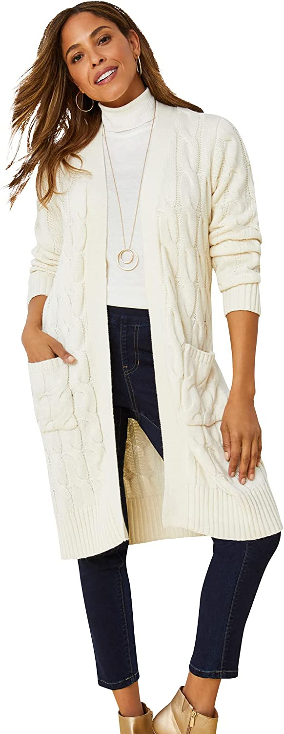 Jessica London Women's Plus Size Cable Duster Sweater Long Cardigan
