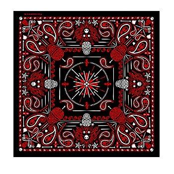 Hot Leathers Paisley Skulls Bandana  Black/Red 21  x 21