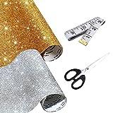 N A Allazone 2 Blätter 24000 Stück Strassband Selbstklebend Aufkleber Selbstklebend Bling Glitzer Strass Kristall, Schere für Auto Handy DIY Handwerk Dekoration, 20 x 24CM, Gold Silber