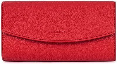 Hexagona Damen Paris Clutch Madrid Collection rot aus synthetischem genarbtem Kunstleder für Zeremonie, Hochzeit, Damentasche, Handy-Tasche, L : 23 x h : 13 x P : 7 cm