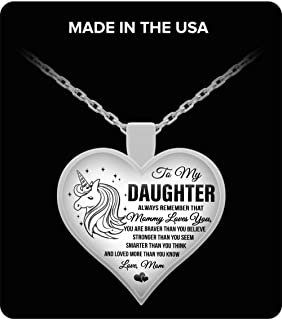 Unicorn Mommy Loves You Daughter Mom - to My Daughter Necklace Heart Pendant for Teen Girls