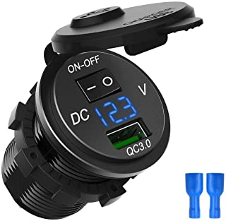 ZYTC Waterproof QC3.0 Car Charger USB Outlet Socket 12V/24V Blue LED Digital Voltmeter with On/Off Switch for Car Boat Motorcycle Marine