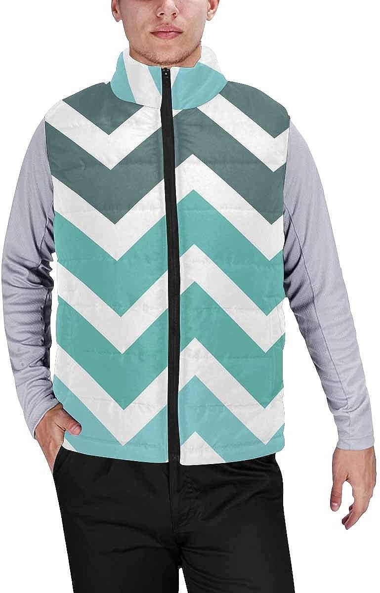 InterestPrint Winter Outwear Casual Padded Vest Coats for Men Abstract Rose Flowers Mandala
