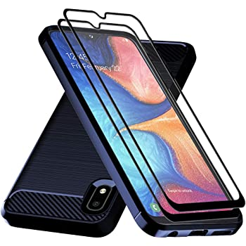 Galaxy A10E Case,Samsung A10E Case with Tempered Glass Screen Protector,Dahkoiz Shock Absorption Galaxy A10E Phone Case Slim TPU Bumper Cover Lightweight Protective Case for Samsung Galaxy A10E,Blue