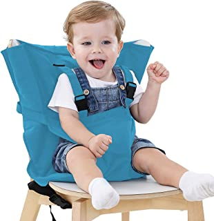 Portable Travel High Chair Cover Baby Easy Seat Safety Washable Cloth Harness with Adjustable Straps for Infant Toddler Feeding (Light Blue)