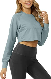 Sanutch Womens Comfy Pullover Crop Sweatshirts Thumb Hole Tops Cropped Long Sleeve Tops for Women Gym Grey Blue XL