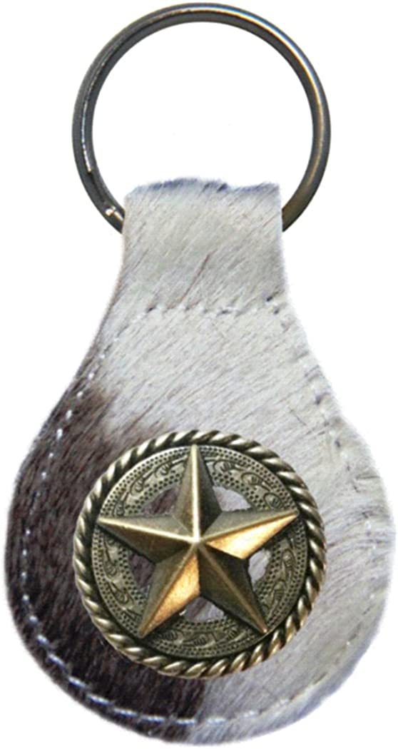 Fancy Rope and Star leather key fob or keychain
