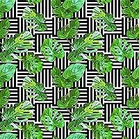 Qinunipoto 写真撮影用 背景布 和風 写真背景 撮影用 背景 布 熱帯植物 緑の葉 黒い線の背景 撮影 写真 飾る 背景紙 誕生日 背景幕 布背景 生放送 自宅 無反射 小道具 撮影用背景紙 ビニール 1.5m x 1.5m