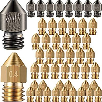 MK8 3D Printer Extruder Nozzle Hardened Steel, Brass Nozzle High Temperature Wear Resistant Nozzles 0.2 mm, 0.3 mm, 0.4 mm, 0.5 mm, 0.6 mm Compatible with Makerbot, Ender 3 (48)