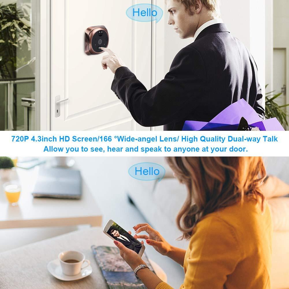 Poder Videollamada Remota y Desbloqueo Remoto Impermeable Timbre de Mirilla Inteligente Compatible para iOS Visi/ón Nocturna Android Acogedor 720P 4.3 Pulgadas HD Mirilla Inteligente WiFi Mac