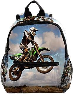 Mochila Escolar Motocicleta Motocross Moto Mochila para Niños De 3-8 Años Mochila para Bebé Impresa para Viajes/Escuela/Picnic 25.4x10x30CM