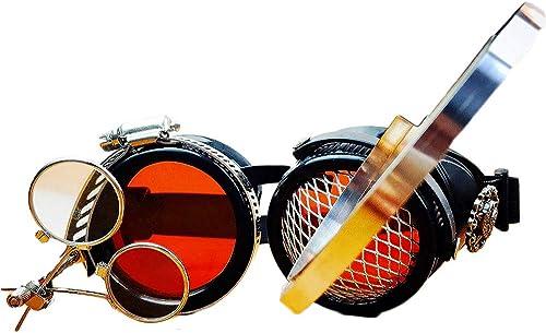 salida de fábrica GY Steampunk Gafas, La Producción De Artesanía Superior, Gafas Gafas Gafas Retro Industrial, Original De Halloween Prom Bar Partido Accesorios De Fotografía Cosplay, Lentes De Vidrio rojo  descuento