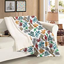 Xlcsomf Warm Blanket Tribal Lamb Velvet Mayan and Aztec Primitive Icons with Shaman and Lamas Figures Archaic Boho Design,60 x 78 inch Multicolor