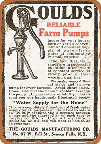 Metallschild 1910 Gould'S reliable Farm Pumps, Vintage-Look, Heimdekoration, 20,3 x 30,5 cm