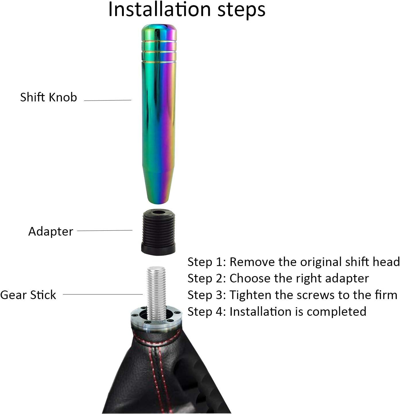 Bashineng 7 Alloy Gear Stick Shifter Knob Black Long Weighted Auto ...