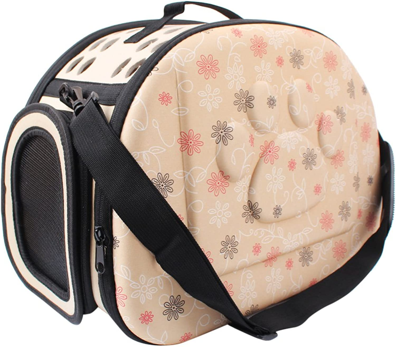 Foldable Soft EVA Pet Carrier Puppy Dog Cat Outdoor Travel Shoulder Bag for Small Dog Pets Portable Dog Kennel 3 colors (Beige)
