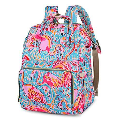 Wickeltasche, Rucksack, große Kapazität, modische Wickeltasche, Kinderwagengurte mit 3 Thermo-Taschen (Flamingo)