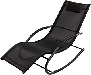 Sunnydaze Outdoor Rocking Wave Lounger with Pillow, Patio and Lawn Lounge Chair Rocker, Black