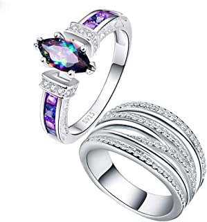 Gnzoe Womens Stainless Steel Double Butterfly Crystal Black Annniversary Wedding Bands
