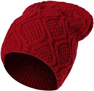 iYBUIA Unisex Men Women Warm Winter Knit Baggy Beanie Hat Ski Slouchy Head Cap