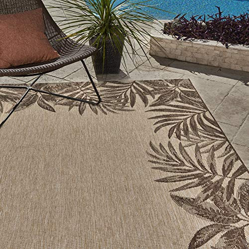 Gertmenian 21260 Nautical Tropical Outdoor Patio Rugs, 5x7 Standard, Palm Tree Border