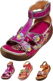 f45fdd1b8d5600 Socofy Sandales Cuir Femmes, Chaussures de Ville Été Compensees Plateformes  Bride Cheville avec Semelle Confortable