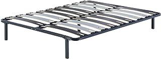 King of Dreams Patrick - Solide et Confortable Sommier Cadre a Lattes + Pieds 140x190 x 29 cm en Metal - 2 x 9 Larges Latt...