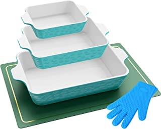 NOOOZA Bakeware Set, Baking Dish Set Includes 3 Rectangular Nonstick Casserole Dish,1 Silicone Placemats,1 Silicone Oven M...