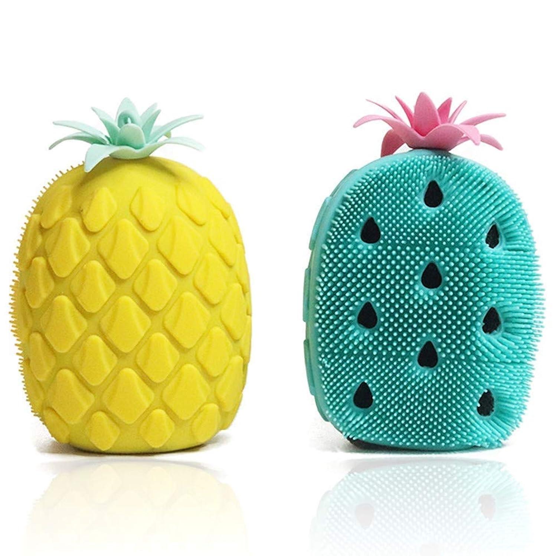 額ブラウザ切手2パックバスブラシ両面マッサージブラシ、ボディブラシ、かわいいパイナップル型食品グレードシリコーンソフトすべての種類の皮膚エクスフォリエータースクラバーブラシ